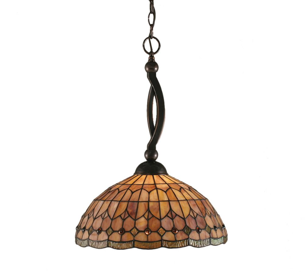 Concord 1-Light Ceiling Black Copper Pendant with a Rosetta Tiffany Glass