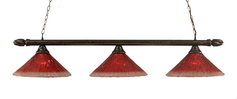 Concord 3-Light Ceiling Bronze Billiard Bar with a Raspberry Crystal Glass