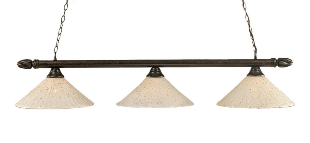 Concord 3-Light Ceiling Bronze Billiard Bar with a Gold Crystal Glass