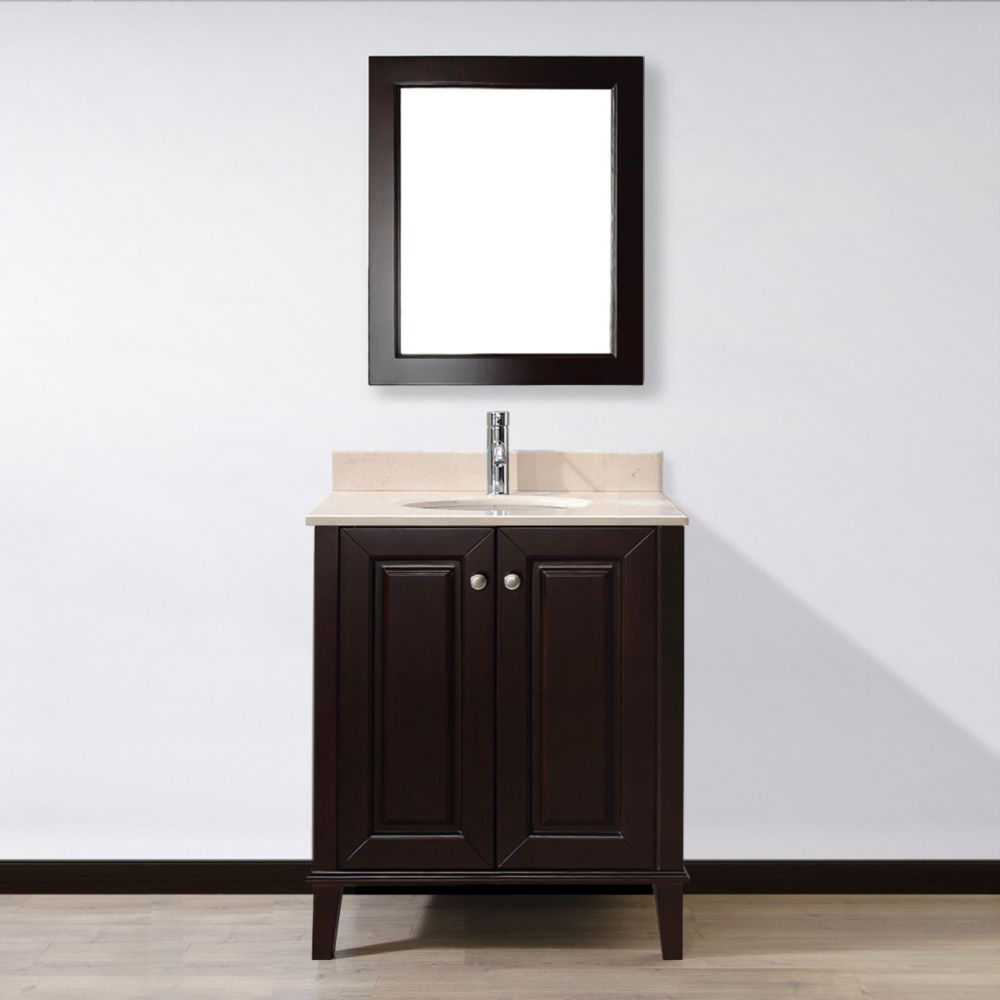 Lily 30-inch W Vanity in Chai with Marble Top in Beige with Porcelain Basin and Mirror