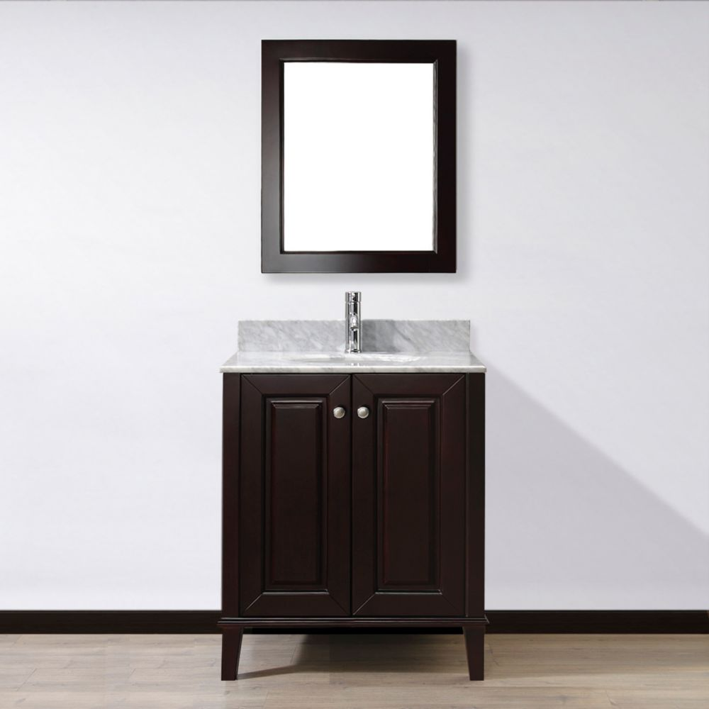 Lily 30-inch W Vanity in Chai with Marble Top in Carrara with Porcelain Basin and Mirror