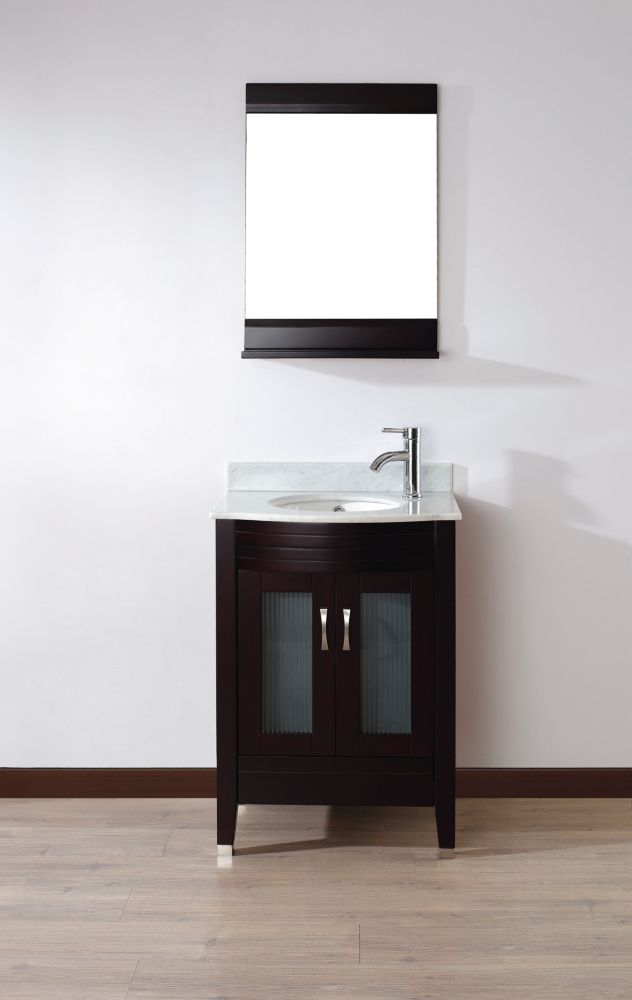 Alba 24-inch W Vanity in Chai with Marble Top in Carrara with Porcelain Basin and Mirror