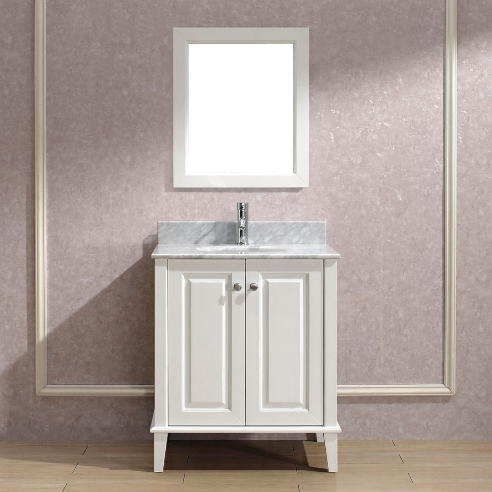 Lily 30-inch W Vanity in White with Marble Top in Carrara with Porcelain Basin and Mirror