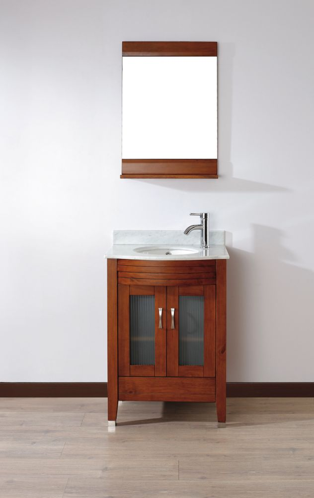 Alba 24-inch W Vanity in Cherry with Marble Top in Carrara with Porcelain Basin and Mirror