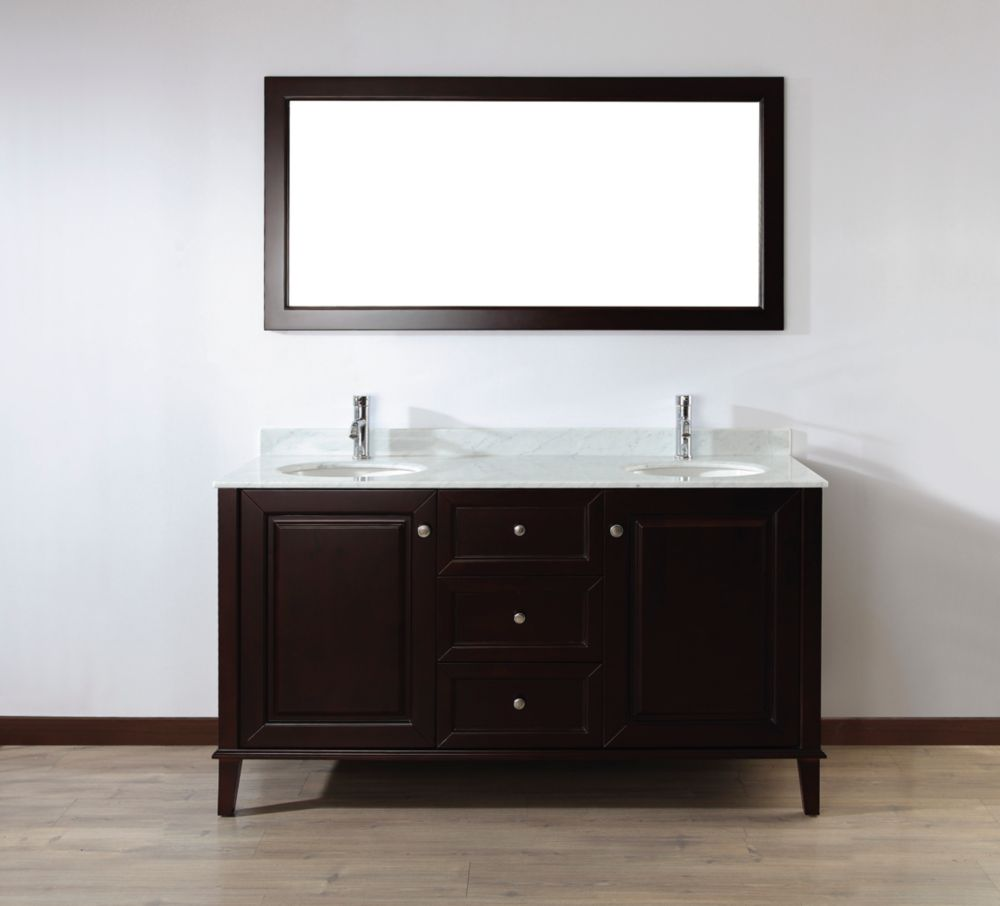 Lily 63-inch W Vanity in Chai with Marble Top in Carrara with Porcelain Basin and Mirror