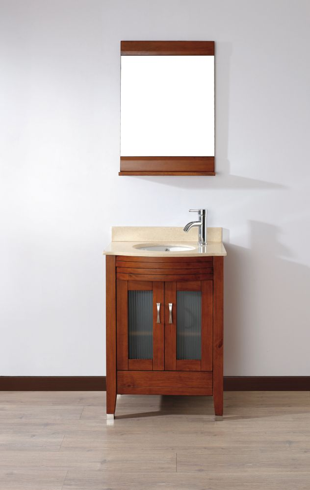 Alba 24-inch W Vanity in Classic Cherry/Beige Finish with Mirror and Faucet