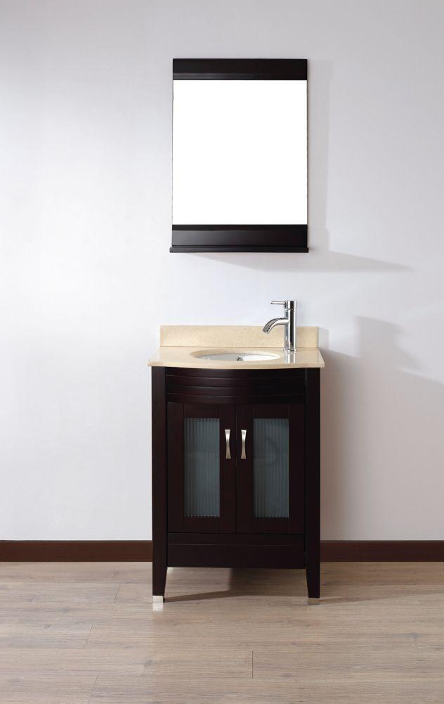 Vanité Alba 24 de couleur chai / Beige avec miroir et robinet