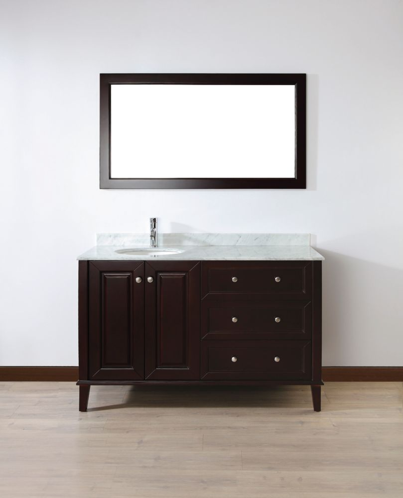 Lily 55-inch W Vanity in Chai with Marble Top in Carrara with Porcelain Basin and Mirror