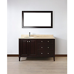 Art Bathe Lily 55-inch W 3-Drawer 2-Door Vanity in Brown With Marble Top in Beige Tan With Faucet And Mirror