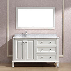 Art Bathe Lily 55-inch W 3-Drawer 2-Door Vanity in White With Marble Top in Grey With Faucet And Mirror