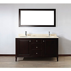 Art Bathe Lily 63-inch W 3-Drawer 2-Door Vanity in Brown With Marble Top in Beige Tan, Double Basins
