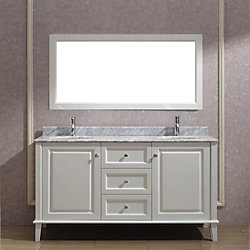 Art Bathe Lily 63-inch W 3-Drawer 2-Door Vanity in White With Marble Top in Grey, Double Basins
