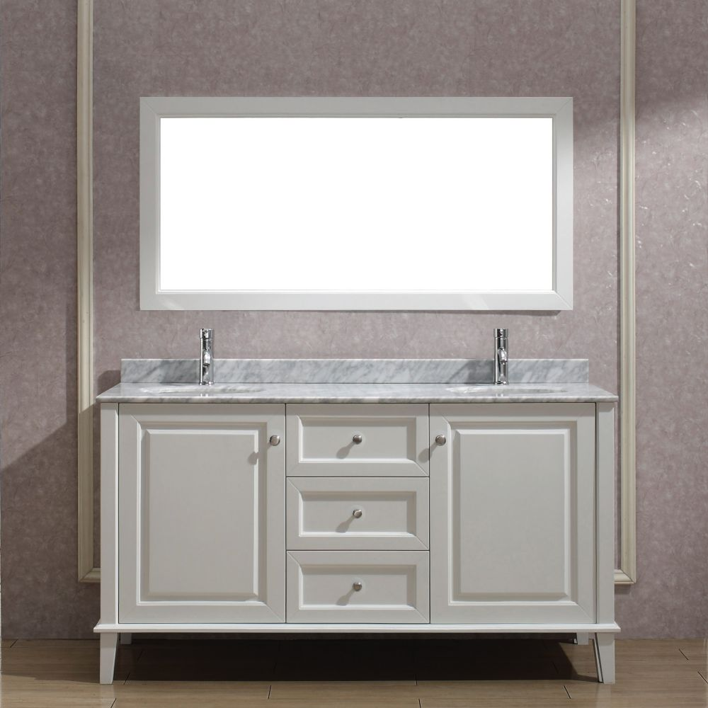 Lily 63-inch W Vanity in White with Marble Top in Carrara with Porcelain Basin and Mirror