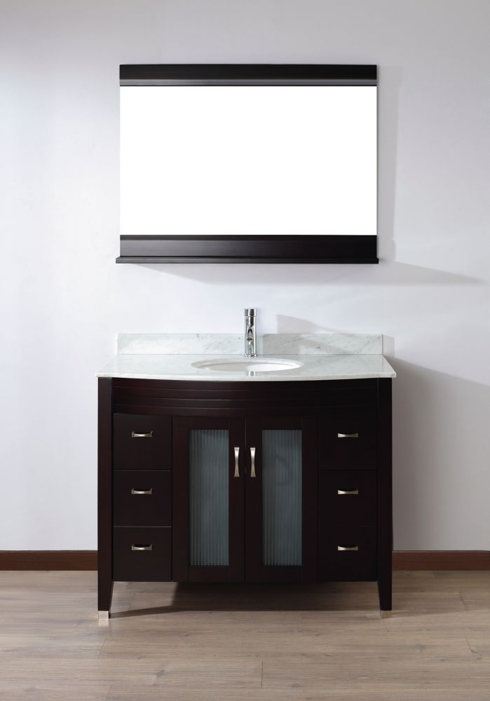 Alba 42-inch W Vanity in Chai/Carrara Finish with Mirror and Faucet