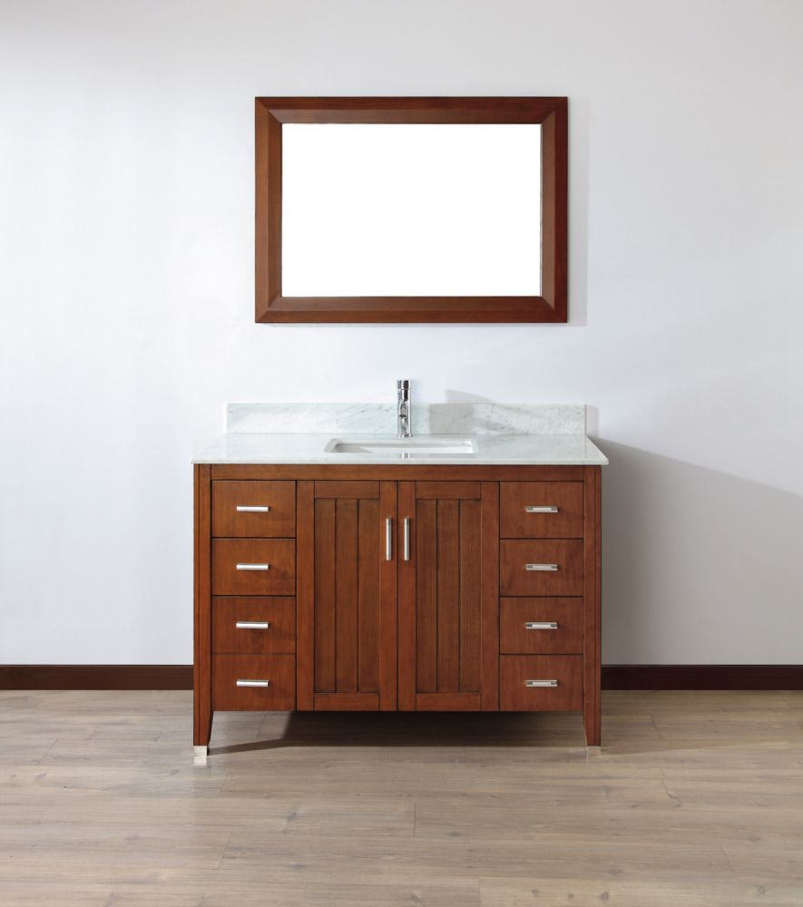 Art Bathe Jackie 22-inch W 7-Drawer 2-Door Vanity in Brown With Marble Top in Grey With Faucet And Mirror