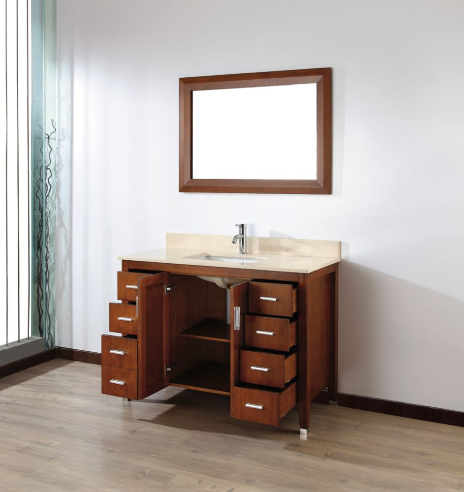 Vanité Jackie 48 de couleur cerise classique / Beige avec miroir et robinets