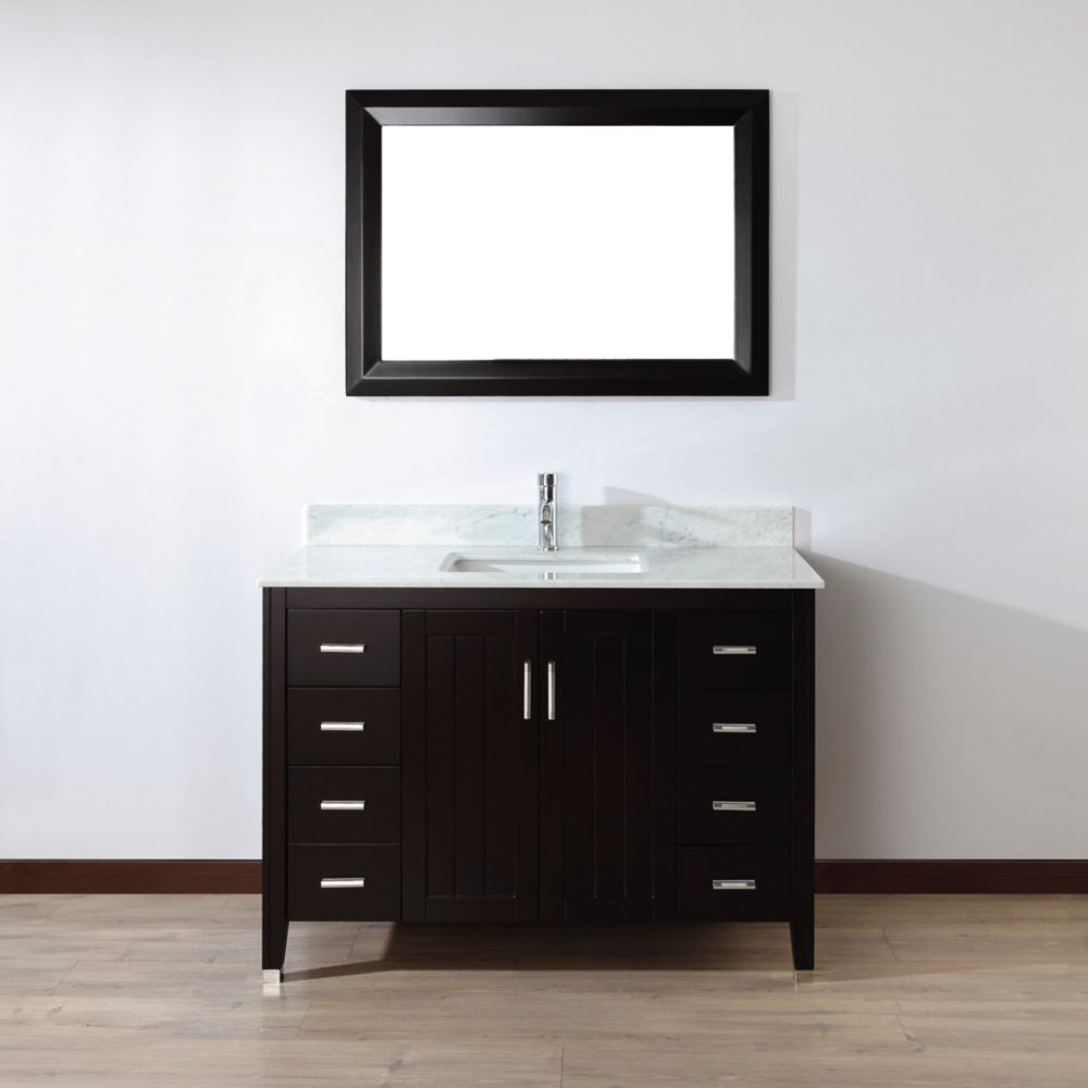 acclaim 72 in double vanity in white with top in carrara white with