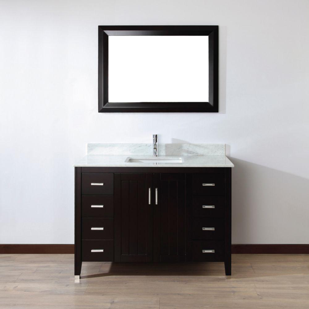 Vanité Jackie 48 de couleur chai / Carrera avec miroir et robinets