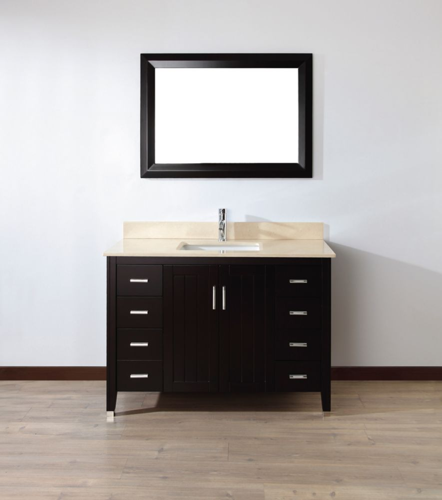 Jackie 48-inch W Vanity in Chai with Marble Top in Beige with Porcelain Basin and Mirror
