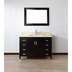 Art Bathe Jackie 48-inch W 7-Drawer 2-Door Vanity in Brown With Marble Top in Beige Tan With Faucet And Mirror