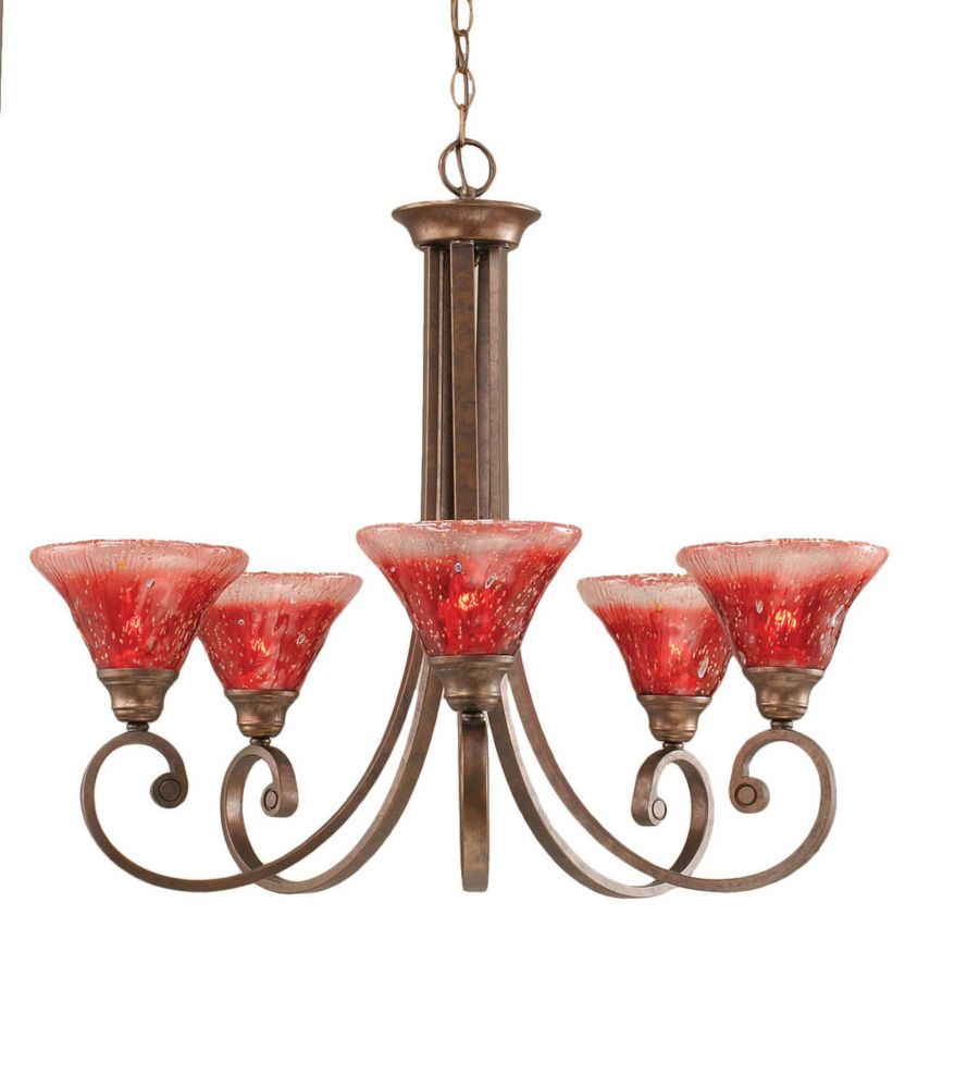Concord 5 Light Ceiling Bronze Incandescent Chandelier with a Raspberry Crystal Glass