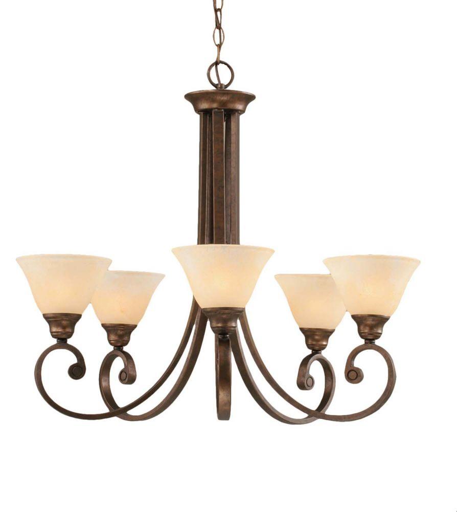 Concord 5 lumières plafond Bronze Lustre incandescence par un verre ambre