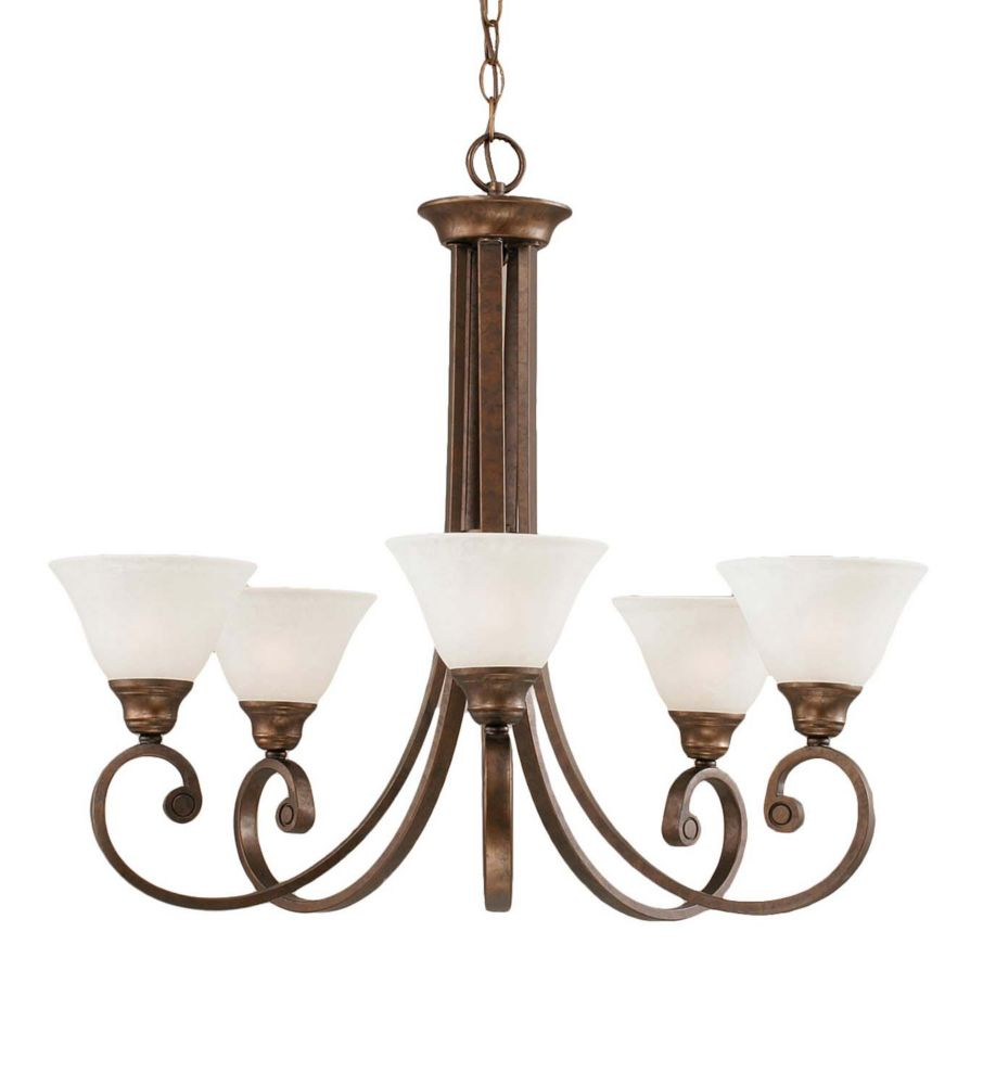 Concord 5 Light Ceiling Bronze Incandescent Chandelier with a White Marble Glass