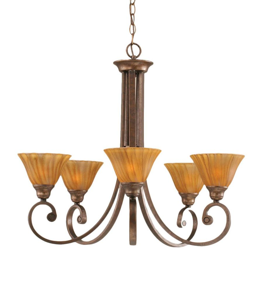 Concord 5 Light Ceiling Bronze Incandescent Chandelier with a Tiger Glass