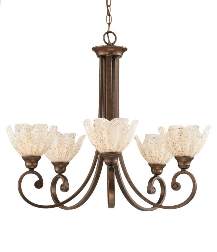 Concord 5-Light Ceiling Bronze Chandelier with a Gold Crystal Glass