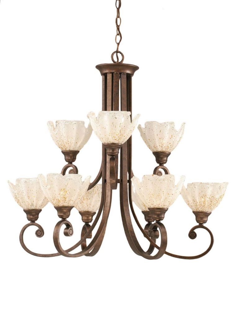 Filament Design Concord 9-Light Ceiling Bronze Chandelier with a Gold Crystal Glass