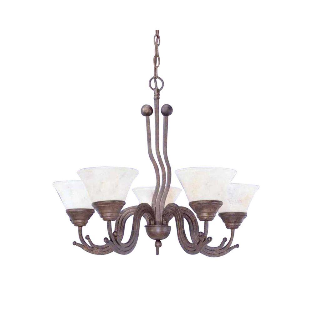Concord 5 lumières plafond Bronze Lustre incandescence par une Marbre Verre italien