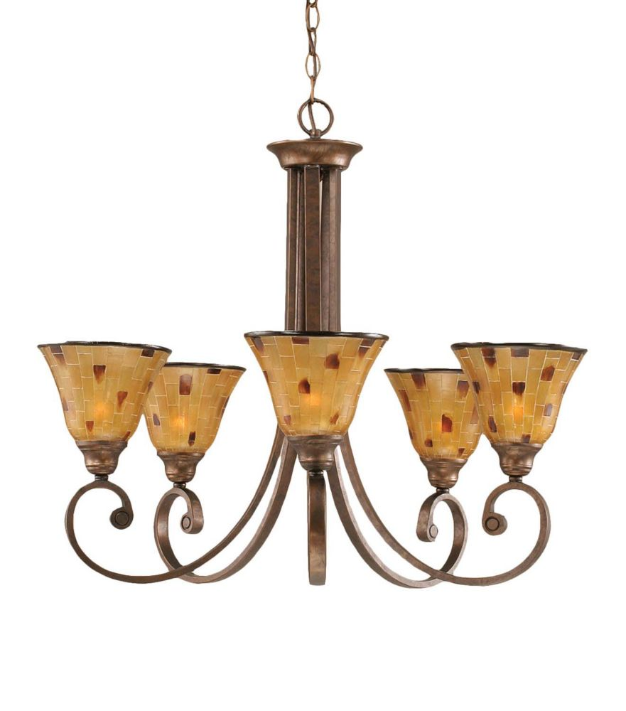 Concord 5-Light Ceiling Bronze Chandelier with a Penshell Resin Glass