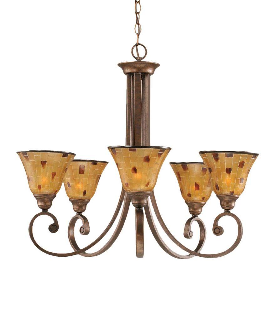 Concord 5 lumières plafond Bronze Lustre à incandescence avec une résine Penshell