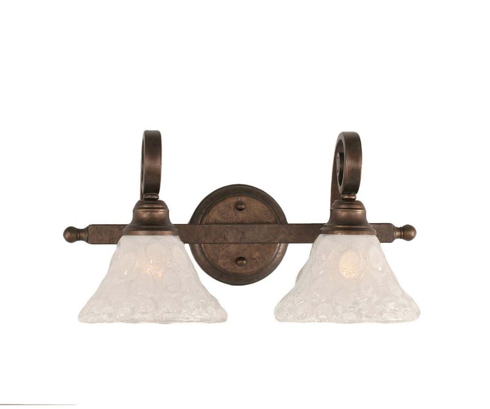 Concord 2 Light Wall Bronze Incandescent Bath Vanities with a Clear Crystal Glass