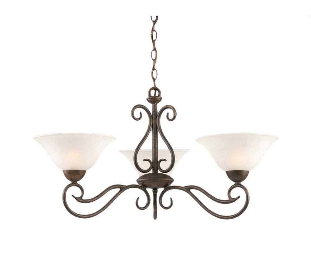 Concord 3 lumières plafond Bronze Lustre à incandescence avec un verre de marbre blanc