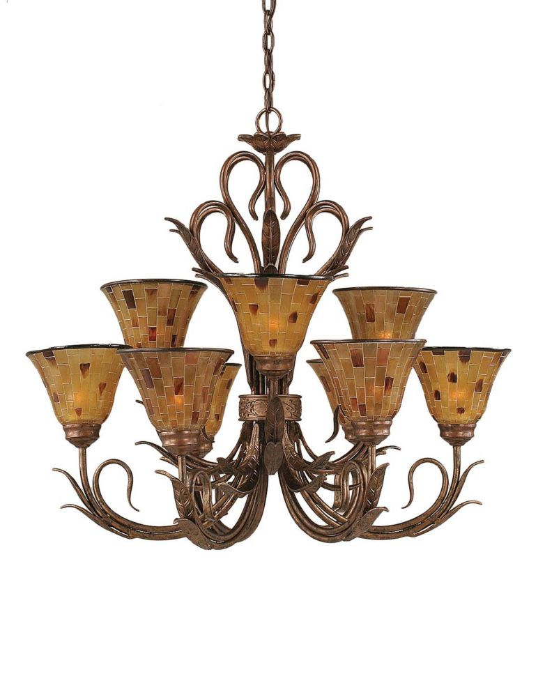 Concord 9-Light Ceiling Bronze Chandelier with a Penshell Resin Glass