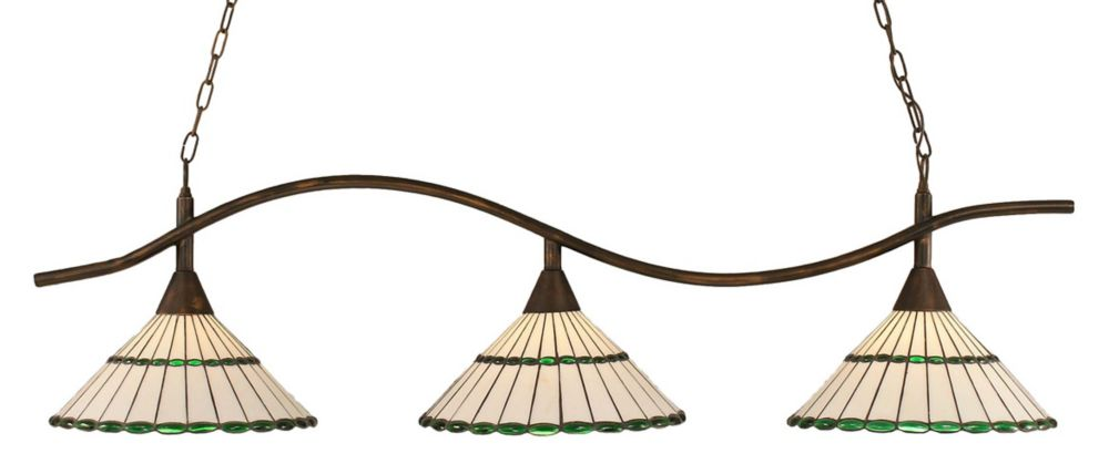 Concord 3 Light Ceiling Bronze Incandescent Billiard Bar with a Honey and Green Tiffany Glass