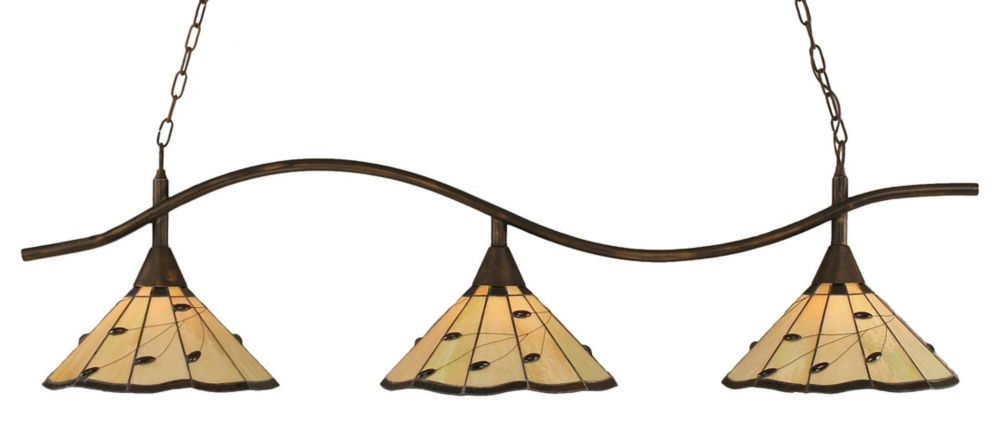 Concord 3-Light Ceiling Bronze Billiard Bar with autumn Leaves Tiffany Glass