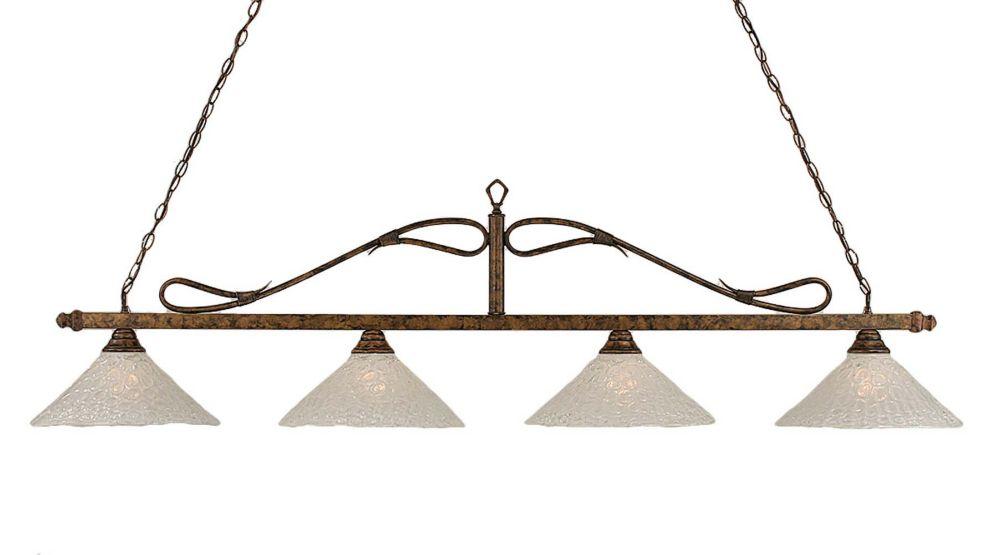 Concord 4 lumières plafond Bronze Incandescent Bar de billard avec un verre cristal