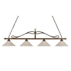 Filament Design Concord 4 lumières plafond Bronze Incandescent Bar de billard avec un verre cristal