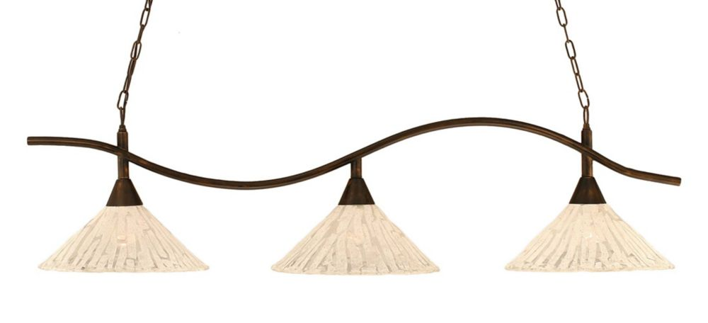 Concord 3 lumières plafond Bronze Incandescent Bar de billard avec un verre cristal