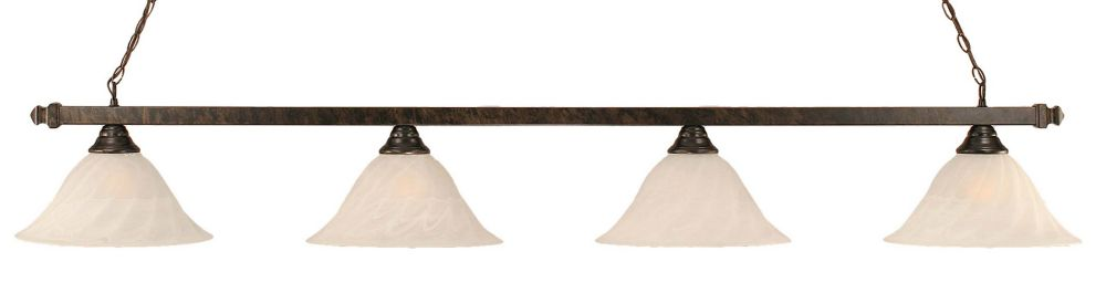 Concord 4 Light Ceiling Bronze Incandescent Billiard Bar with an Alabaster Glass