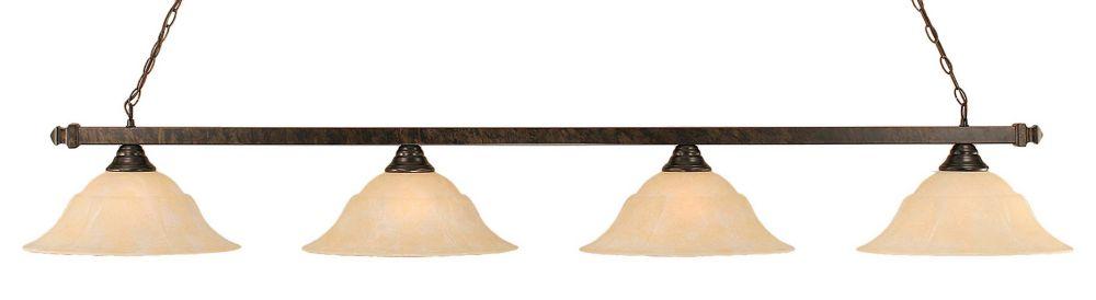 Concord 4 lumières plafond Bronze Incandescent Bar de billard avec un verre ambre