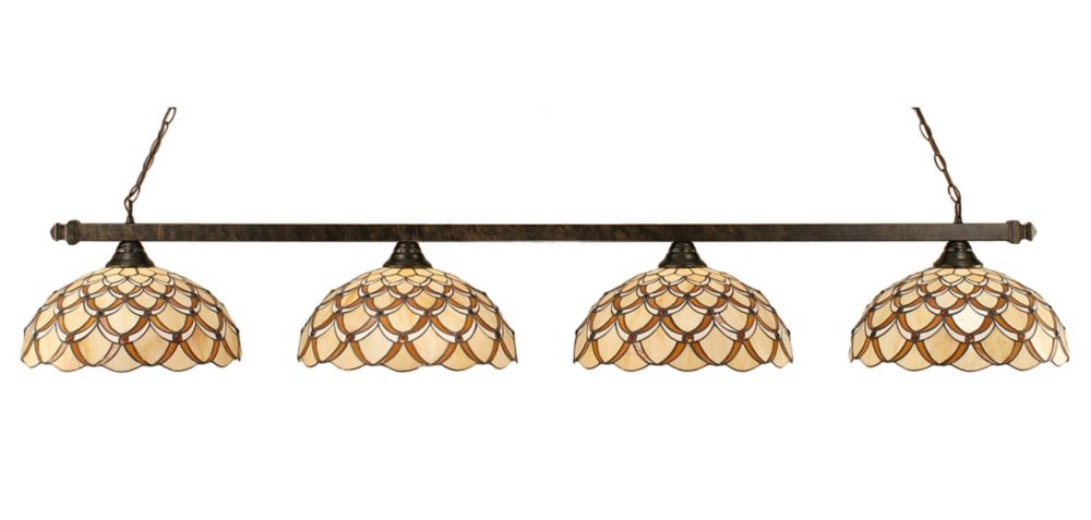 Concord 4 Light Ceiling Bronze Incandescent Billiard Bar with a Honey and Brown Tiffany Glass