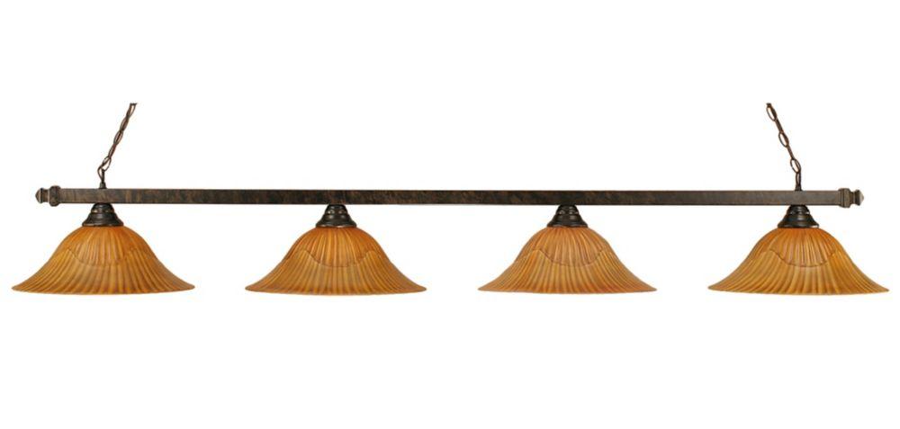 Concord 4 lumières plafond Bronze Incandescent Bar Billard avec un verre Tiger