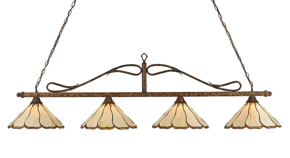 Concord 4 lumières plafond Bronze Incandescent Bar Billard au miel et Brun verre selon Tiffany