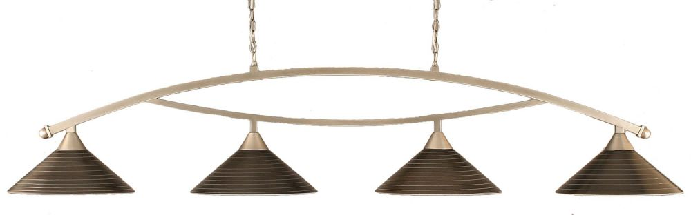 Concord 4 Light Ceiling Brushed Nickel Incandescent Billiard Bar with a Charcoal Spiral Glass