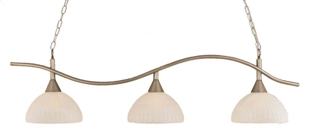 Concord plafond 3 lumières, nickel brossé à incandescence Bar billard avec un verre d'albâtre
