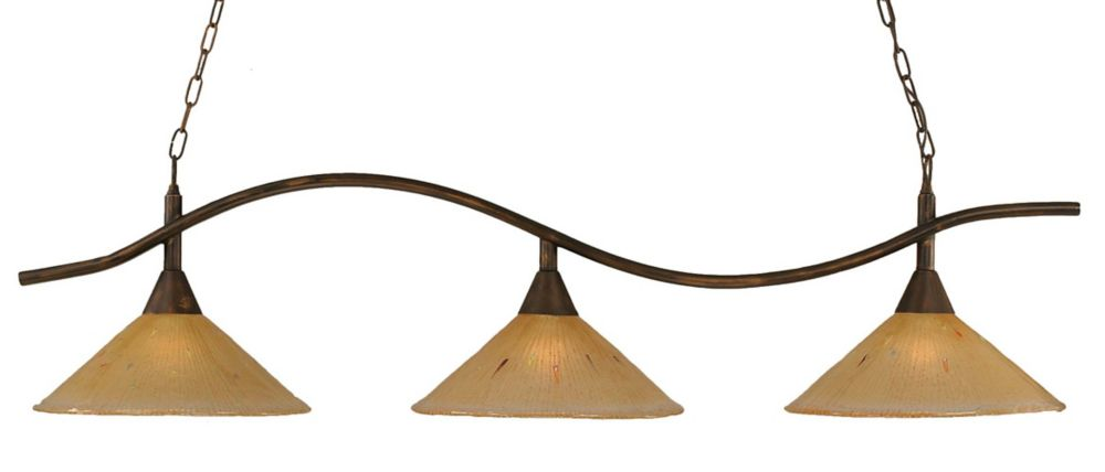 Concord 3-Light Ceiling Bronze Billiard Bar with an Amber Glass
