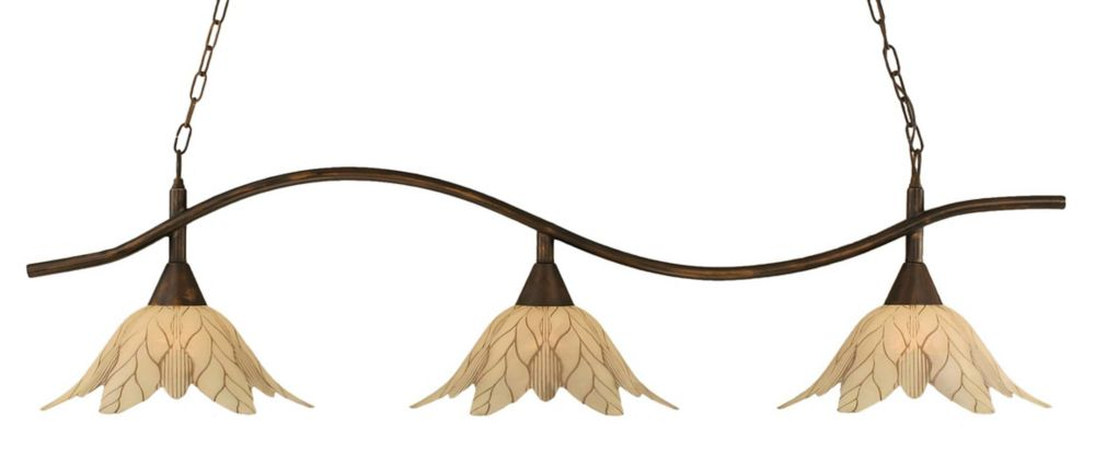 Concord 3-Light Ceiling Bronze Billiard Bar with a Vanilla Leaf Glass